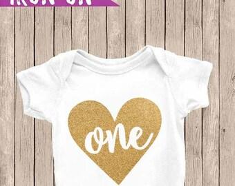 First Birthday Onesie, Glitter Gold One Onesie, 1st Birthday Outfit, Birthday Iron On, Glitter Heart One, Gold Heart Onesie