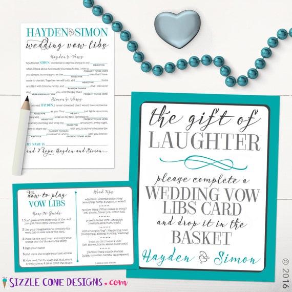 Wedding Vow Mad Libs Printable: Elegant Wedding Vows Madlib Rehearsal Dinner By
