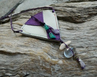 Medicine Pouch Necklace Clear Quartz, Amethyst, Amazonite and Ocean Pebble Medicine Pouch Jewelry Little Leather Bag Necklace