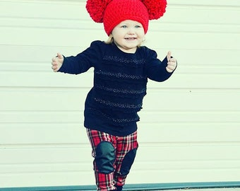 Pom Pom Hat- Red Winter beanie- available in all sizes