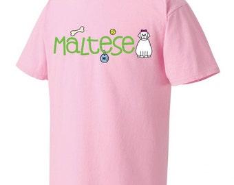 Maltese Doodle Garment Dyed Cotton T-shirt