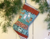 Dog Stocking Quilted - Brown Dogs - Turquoise, Brown, Black, Patchwork, Teal, Dog Bones, Personalized Pet Stocking, dog bone stocking