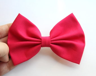 Monique Hair Bow - Hot Pink Solid Color Hair Bow with Clip