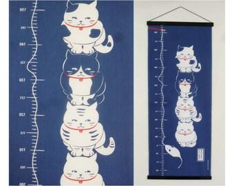 Cat fabric japanese tenugui, Japanese maneki neko indigo blue, cat wall decoration, cute fabric tenugui, kawaii fabric, japanese silk screen