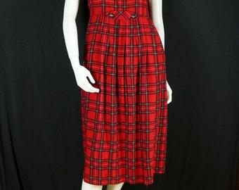 Rayon overall dress Womens vintage clothing Midi jumper dress Red tartan pinafore dress Boho clothes Sleeveless red plaid dress S