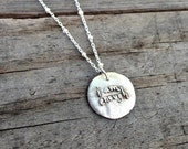 i am enough necklace silver affirmation jewelry handwriting charm on satellite chain