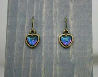 Lindsay - Teal, Green and Pink - Color Shifting - Delicate Heart Antique Bronze Dangle and Drop Earrings