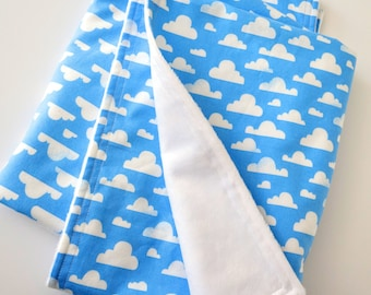 Baby or Toddler Blanket for Boy or Girl, Gender Neutral - Clouds on Sky Blue Cotton, White Minky Back, 28 x 35 inches