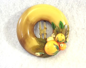 Vintage Celluloid Dress Clip - Fruit Theme Fur Clip - Retro Celluloid Jewelry