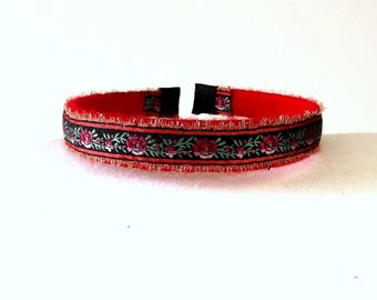 Red Flower Hair Accessory - Vintage Headband - Fabric Hair Band - Boho Headband