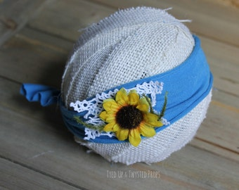 Newborn Sunflower Headband Prop RTS