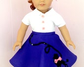 REDUCED--American Girl Clothes Blouse and Poodle Skirt Set