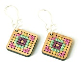 Modern Cross Stitch Jewelry Kit - Bamboo Diamond Earrings with Multicolor Patterns