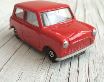 Red mini, vintage toy car in it's original packaging. Made in UK, Corgi The Sixties Cameo Collection. 1993.