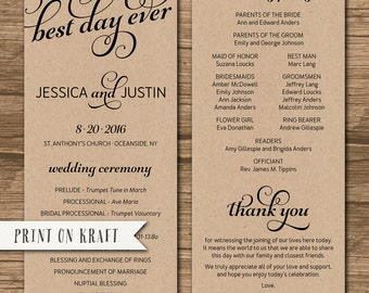 Rustic Wedding Program, Order of Ceremony, Ceremony Program, Order of Service - double-sided - calligraphy, best day ever - Jessica