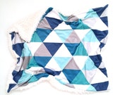 Baby Blanket Navy + Teal Triangles. The Cloud Blanket. Faux Fur Baby Blanket. Minky Baby Blanket. Navy Triangle Baby Blanket.