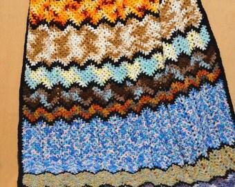 Crochet Lap Afghan, Colorful Throw, Small Ripple Afghan