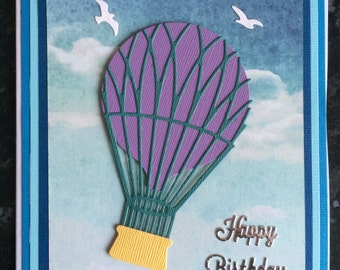 Purple Hot Air Balloon Floating Away in to the Sky Birthday Card
