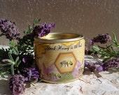Lesvian Honey, raw honey, thyme honey, wild mountain honey, honey tin, honeybee, yellow, purple, honey, Lesvos, Greece, Greek honey, 1/2 lb