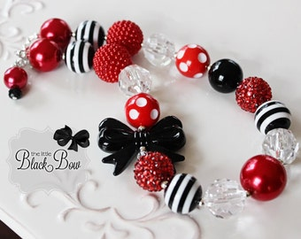 OLIVIA Necklace, M2M Gymboree M2MG Chunky Necklace, Red & Black Beads, Child, Toddler or Baby Size Bubblegum Gumball Girls Beaded Jewelry