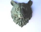 CAMPER GREEN Large Faux Taxidermy Bear Head animal head wall mount wall hanging in camper green / nursery decor / kids room / office decor