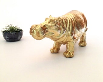 GOLD Large Hippo Animal Statue :  Hans the Hippo home decor kids room office unique gift office decor gold decor hippopotamus water animal