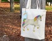 Unicorn Tote Bag, Ethically Produced Reusable Shopper Bag, Cotton Tote, Shopping Bag, Eco Tote Bag