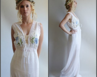 Vintage Bohemian Wedding Party Dress Cotton Lace Semi Sheer Ethereal Romantic 1970s Nightgown