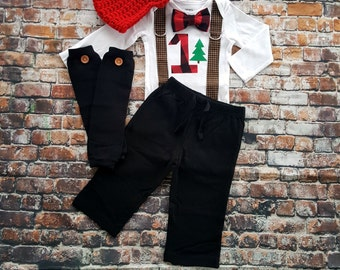 LumberJack Baby Boy Tie Bodysuit with Suspenders, Lumberjack First Birthday, Baby Boy Lumberjack, Buffalo Plaid, Red Black Check, Cake Smash