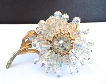 Vintage Aurora Borealis Crystal Flower Brooch Pin Daisy Brooch Austrian Crystal Gold Tone and Crystal Brooch Flower Jewelry