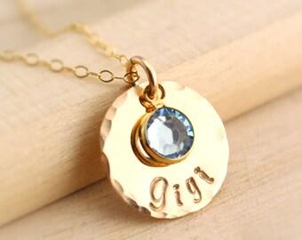 Gigi Necklace with Birthstone Crystal - Gold Gigi Necklace - Personalized Gigi Jewelry - Gift for Gigi, Grandma, Oma, Nana, Mother