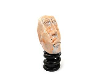 Ceramic Head, Ceramic sculpture, White clay sculpture, Small sculpture, desk accessories sculpture, small art sculpture, by 99heads