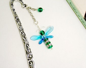 Guardian Angel Bookmark Swarovski Crystal Birthday Gift Green Fairy Bookmarker Blue Firefly Charm Unique Gift Metal Book Accessory Bee Charm