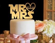 Wedding Cake Topper - Star Wars Font Cake Topper - Gold Cake Topper