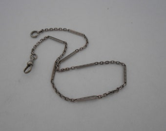 Antique White Gold Filled Pocket Watch Chain 13 1/2 Inches