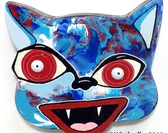 Outsider Folk Art Cat Head, Crazy Happy Cat, Comical Hand Painted Cat Wall Hanging, Abstract Cat Wood Wall Art, Outsider Cat by Windwalker