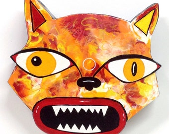 """Outsider Folk Art Cat Head, """"Mad Cat #1"""", Comical Hand Painted Cat Wall Plaque, Abstract Cat Wood Wall Art, Outsider Cat by Windwalker Art"""