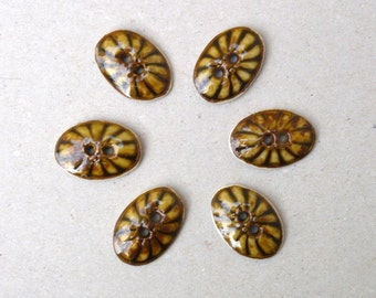 Mustard And Rust Sewing Buttons, Crafting Supplies , Fashion Accessories