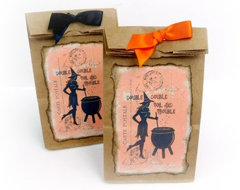 Witch Candy Bags, Halloween Favor Bags, Trick or Treat, Witch Goodie Bags, Kraft Brown, Vinatge Halloween, Witch Gift Bags, Gift Packaging