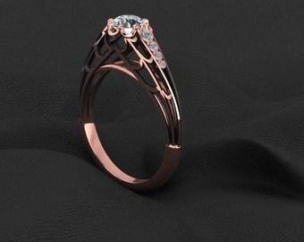 14K Gold Black Widow Diamond Ring