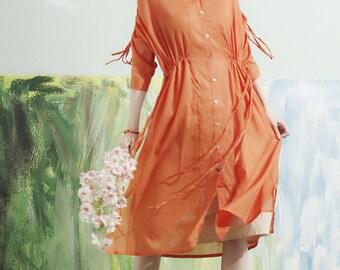 linen dress in orange, shirt tunic dress, tshirt, long sleeve dress, elastic strings dress, linen shirt, oversize shirt dress, linen blouse