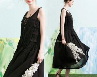 Black Linen Dress, Black Maxi Dress, Long Black Dress, Black Cocktail Dress, Black Dress Gown, Linen Pleated Dress, Little Black Dress