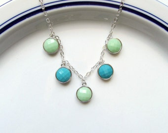 Mint Green and Turquoise Silver Charm Single Strand Necklace - After the Rain