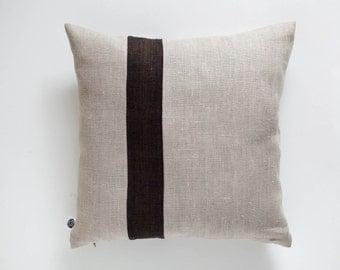 Decorative linen pillow, accent pillow - modern throw pillows - Natural linen pillow cover with decorative line in custom size  pillows 0396