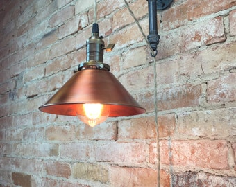Industrial Style Sconce - Pendant Lamp - Copper Shade - Edison Bulb - Wall Light