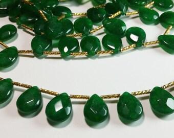 Emerald Jade Faceted Briolette Beads 15mm - 16mm