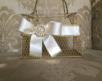 CUSTOM gold  flower girl basket purse with ivory ribbon and brooch purse basket for junior bridesmaid