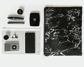 Black marble xl portfolio clutch bag