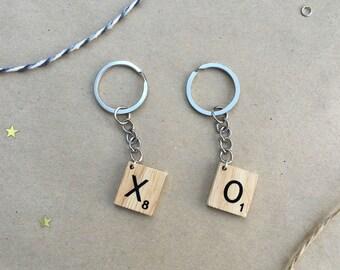 Letter Tile Initial Keyring