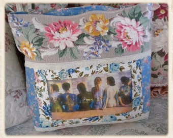 Vintage Nubby Barkcloth Roses & Wilendur Tablecloth~Pink Floyd~The Back Catalogue Tote Bag *FREE SHIPPING*